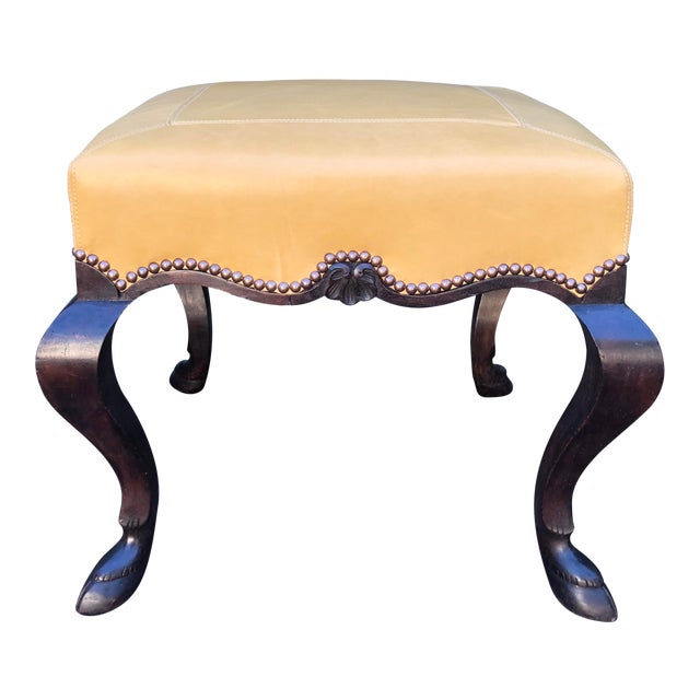 Carved Italian Walnut Designer Ottoman Bench by Randy Esada Designs for Prospr For Sale