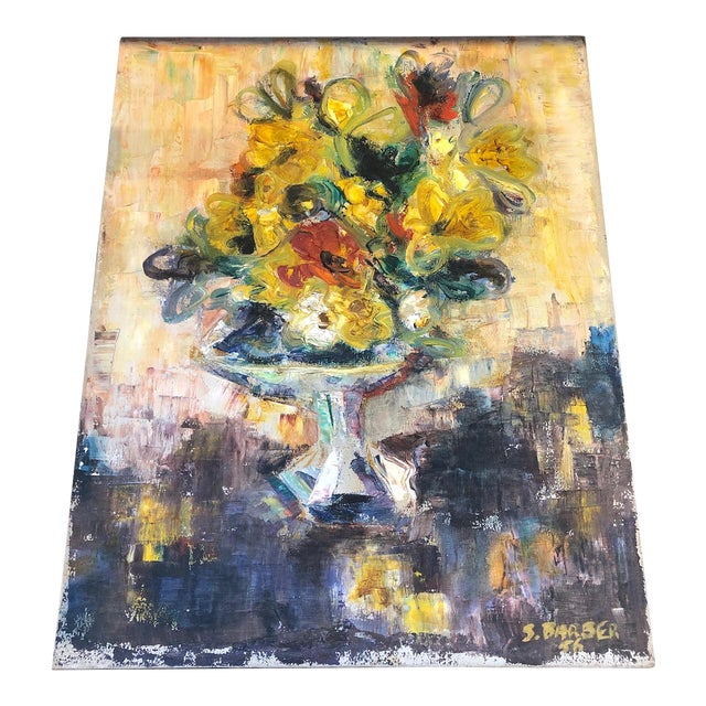 Yellow Floral Still Life Painting For Sale