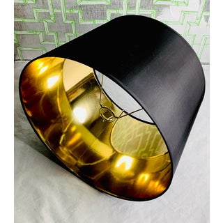 Black Silk Drum Lamp Shade with Metallic Gold Lining Custom Made Circa 1970s Preview