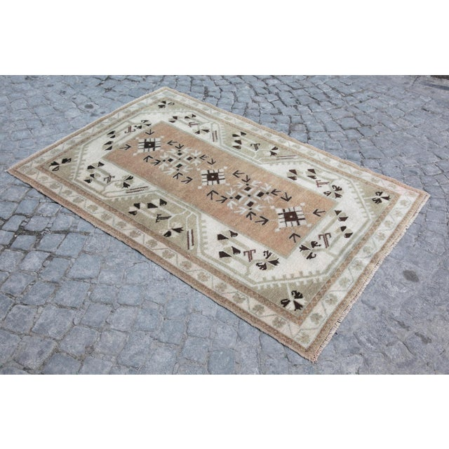 Tribal 1970s Vintage Tribal Turkish Rug - 3′5″ × 5′1″ For Sale - Image 3 of 12