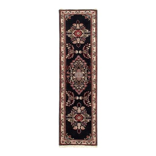 Pasargad Black Color Hand Knotted Tabriz Runner For Sale