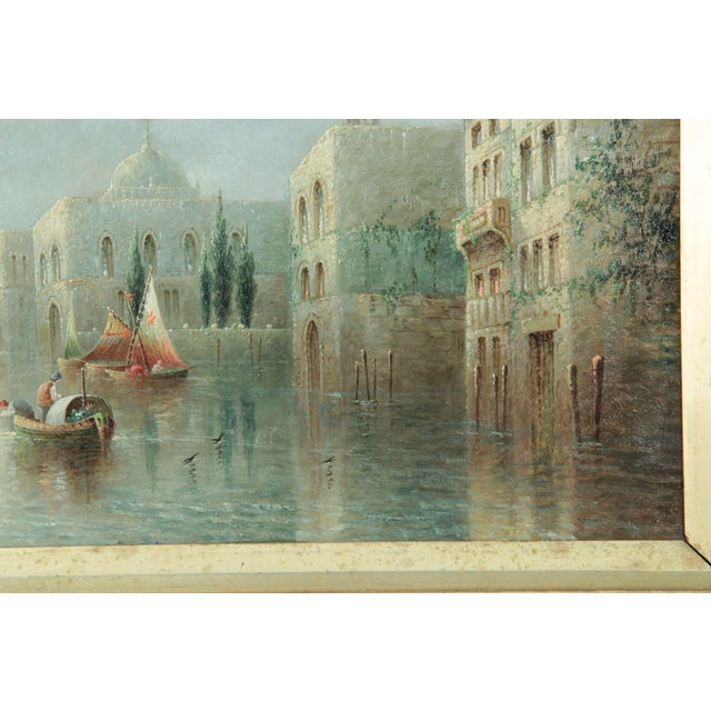 British Grand Canal Venice Antique Oil Paintings by James Salt - a Pair For Sale - Image 4 of 11