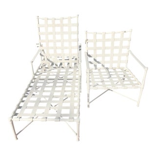 White Iron and Plastic Straps Patio Lounge Chairs- A Pair For Sale