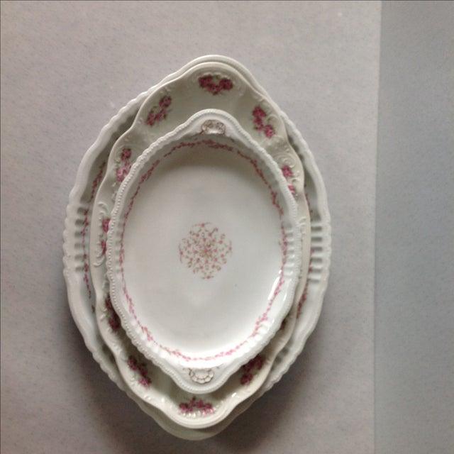 Austrian White & Pink Rose Platters - Set of 3 - Image 4 of 11