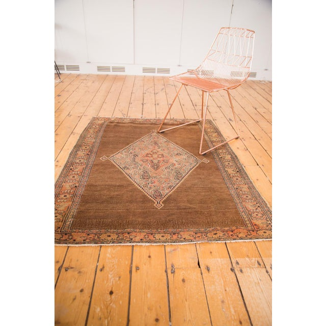 "Boho Chic Antique Fine Senneh Square Rug - 4'1"" X 5' For Sale - Image 3 of 9"