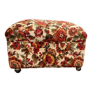 Large Vintage Mid-Century Floral Ottoman For Sale