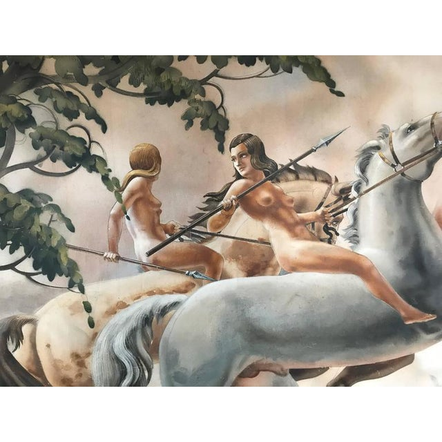 1940s Large Art Deco Mural of Diana the Huntress For Sale - Image 5 of 8