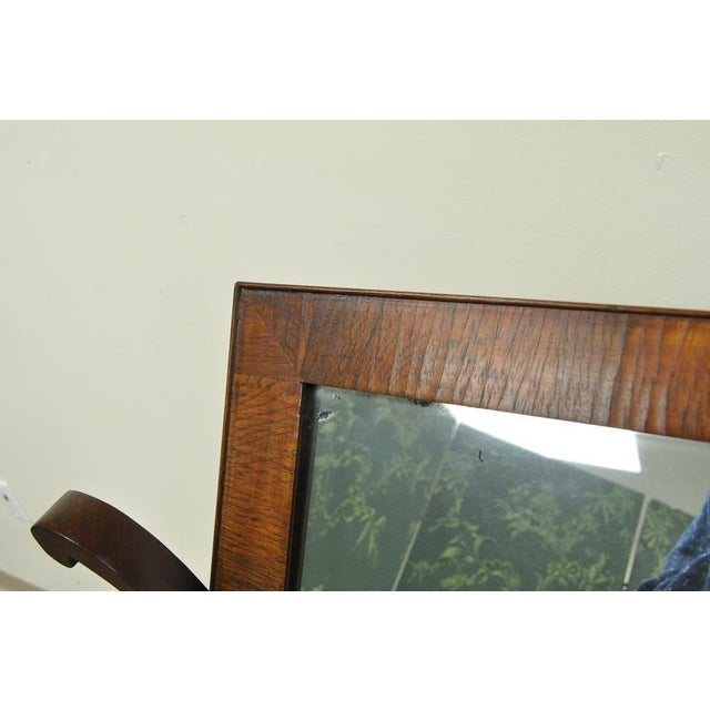 Brown 19th C. American Empire Carved Mahogany Shaving Vanity Mirror For Sale - Image 8 of 13