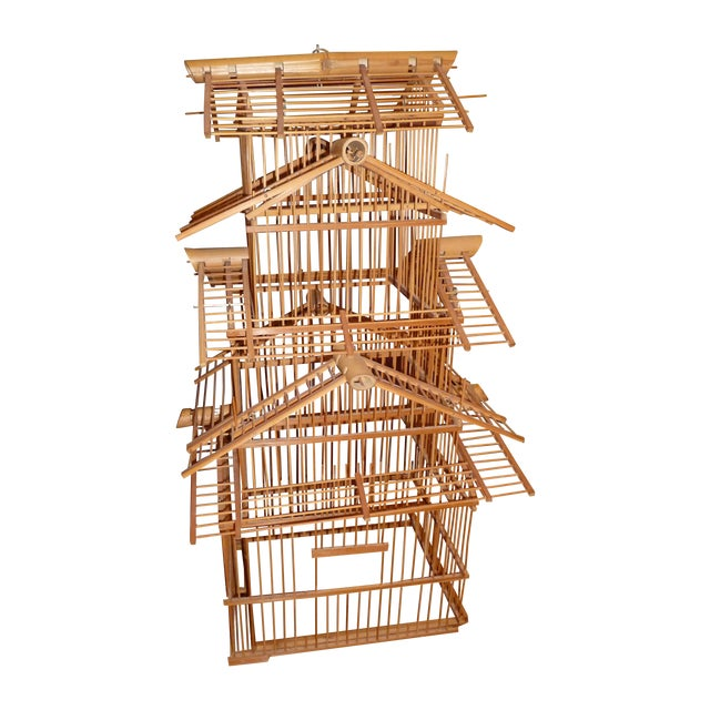 1970s Bamboo Wood Bird Cage For Sale