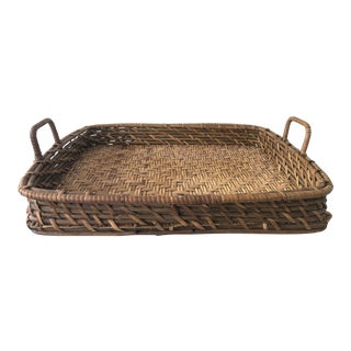 Vintage Rattan & Bamboo Tray For Sale