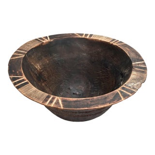 Antique Primitive Bowl With Carvings For Sale