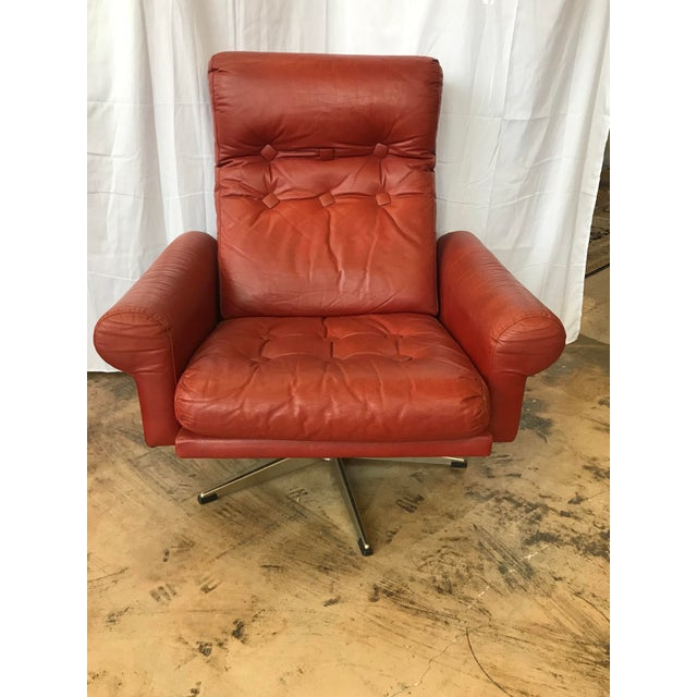 1960s Mid Century Modern Red Leather Swivel Chair For Sale - Image 9 of 9