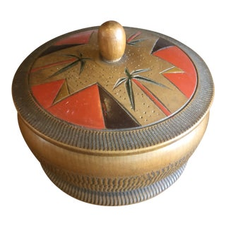 1950s Vintage Japanese Wooden Jewelry Box For Sale
