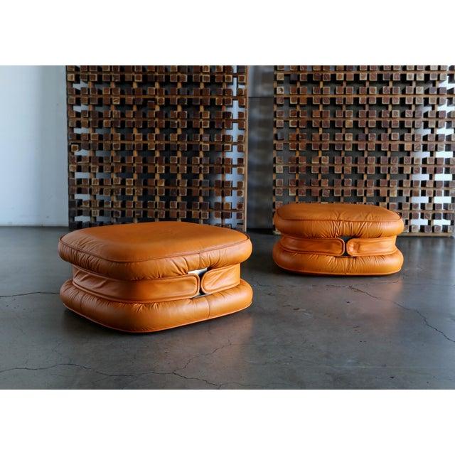 i4 Mariani I4 Mariani Leather Ottomans, 1975 - a Pair For Sale - Image 4 of 7