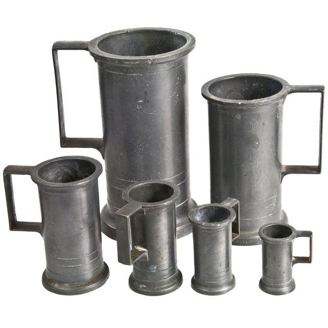 Vintage French Pewter Measures - Set of 6 For Sale