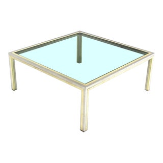 Square Brass Chrome and Glass Coffee Table by Romeo Rega For Sale