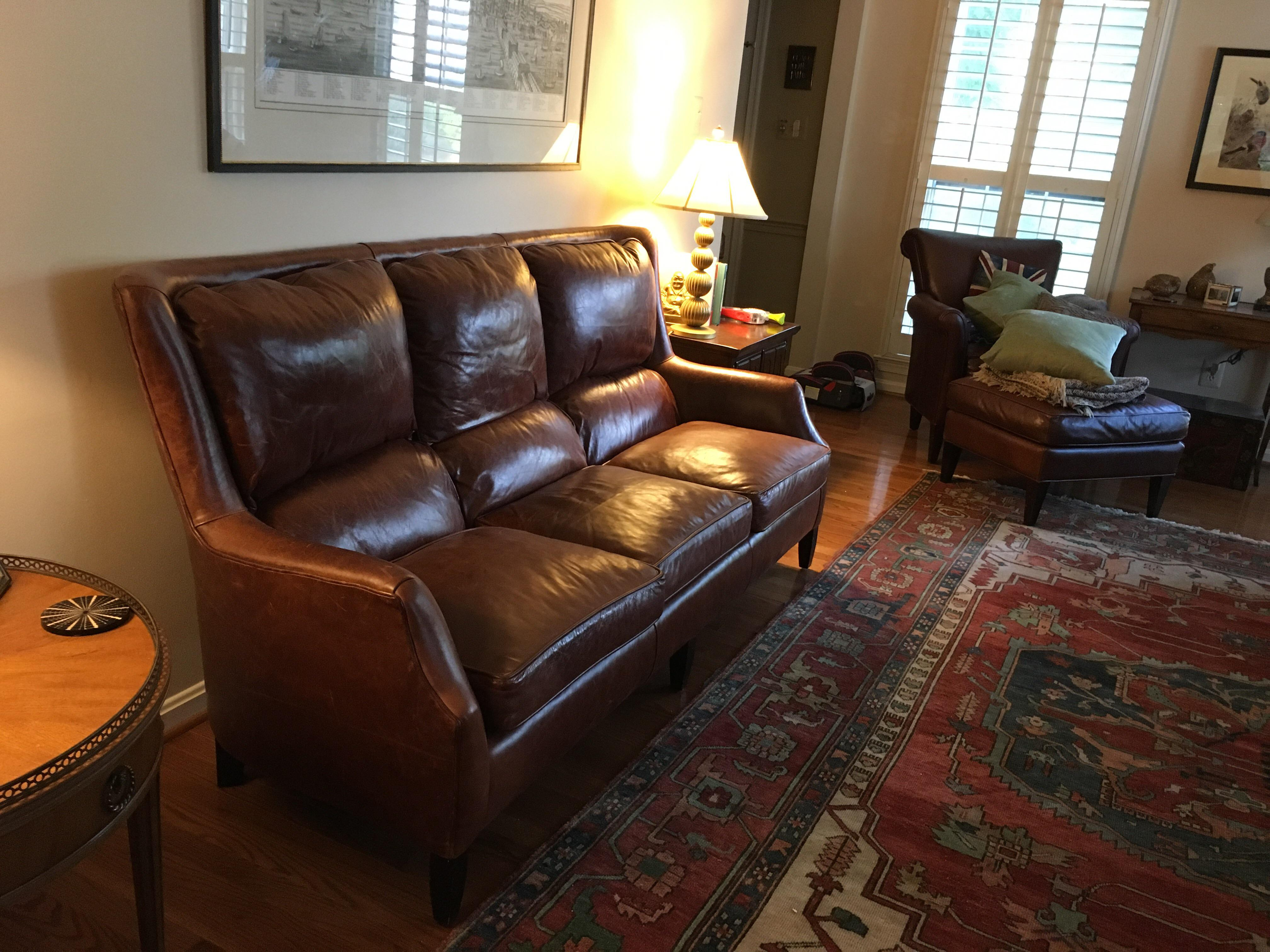 Arhaus Alex Leather Sofa For Sale   Image 5 Of 5