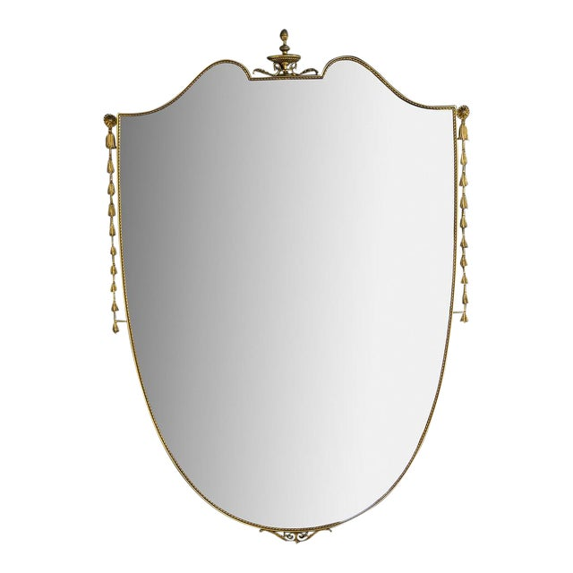Large Brass Shield Mirror For Sale