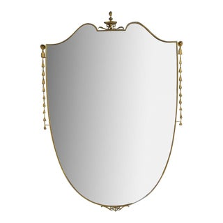 Large Brass Shield Mirror With Detail Down the Side For Sale