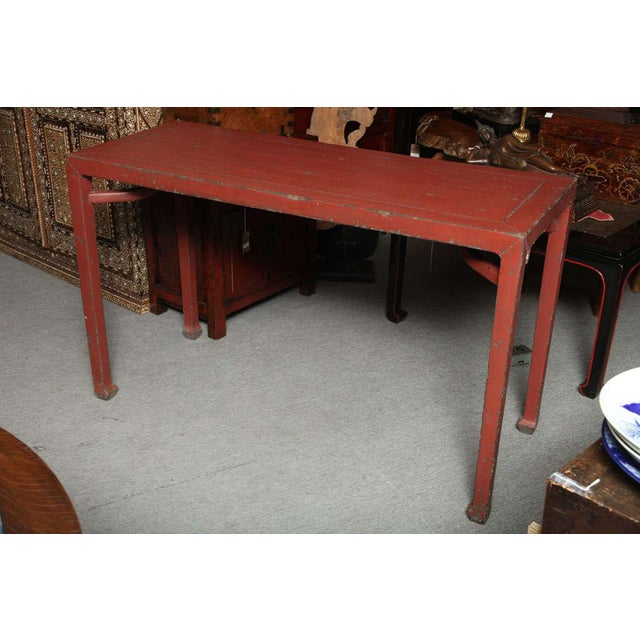 Asian Antique Linen Covered Red Lacquered Elmwood Console Table, 19th Century China For Sale - Image 3 of 11