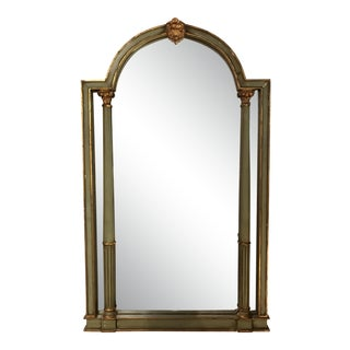 Vintage Green Painted Mirror For Sale