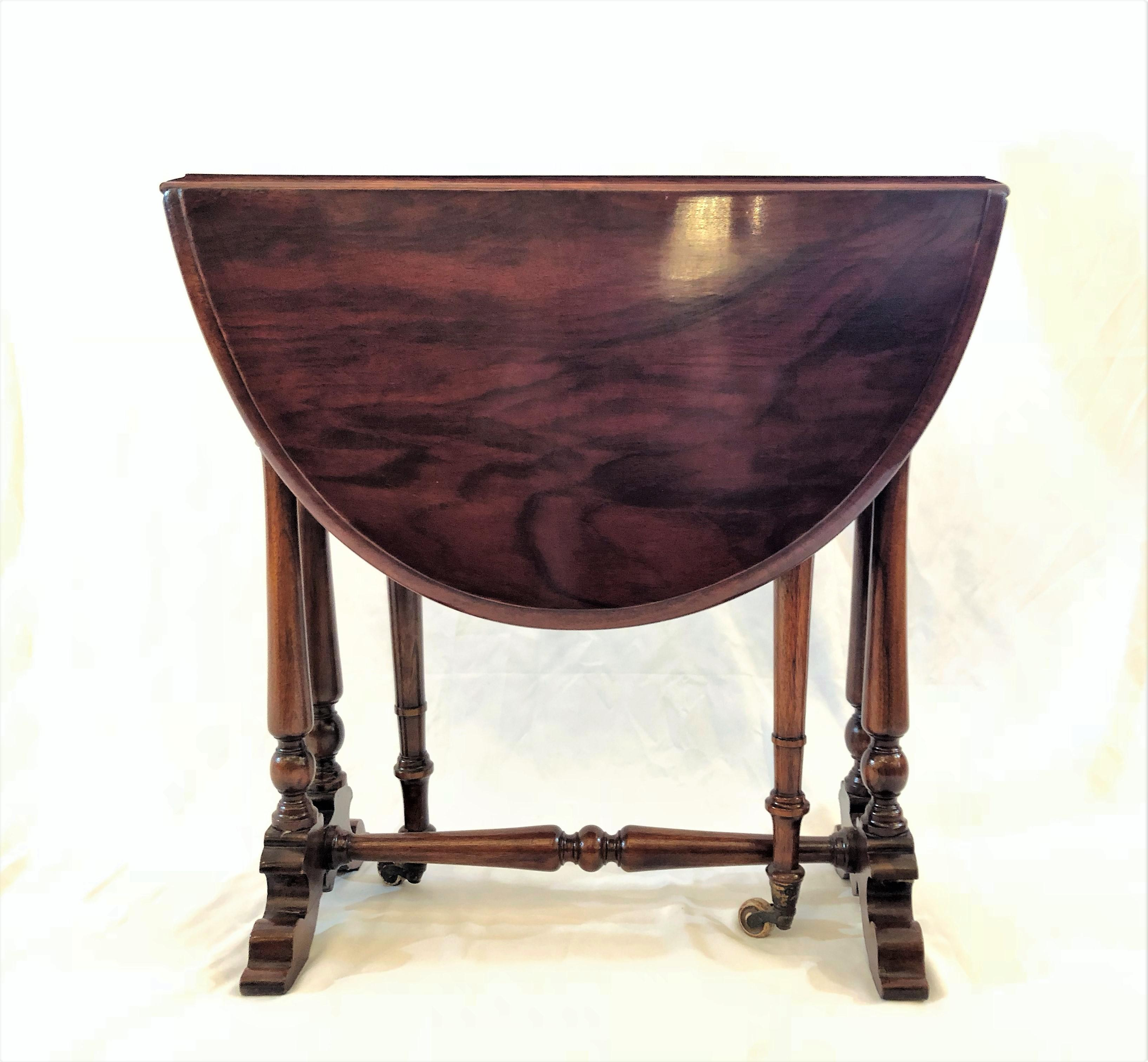 Mahogany Antique English Mahogany Miniature Drop Leaf Table For Sale    Image 7 Of 8