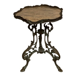 1920s Gothic Scalloped Marble Top and Bronze Side Table For Sale