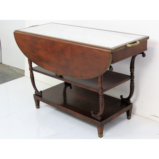 Directoire Style Marble Top Mahogany Drop Leaf Server Table For Sale - Image 4 of 8