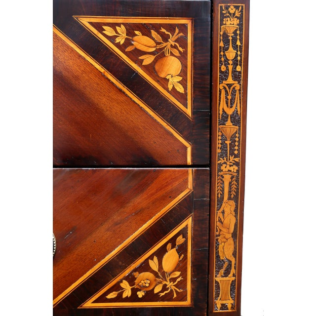 Gold Italian Neoclassic Marquetry Inlaid Commode For Sale - Image 8 of 13