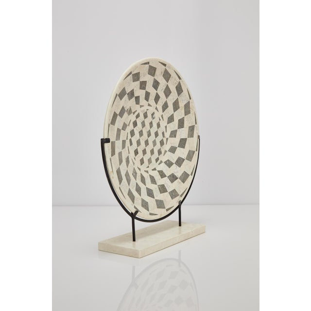 "1990s 1990s Contemporary Marquis Collection Tessellated Stone ""Illusion"" Plate on Iron Stand For Sale - Image 5 of 12"