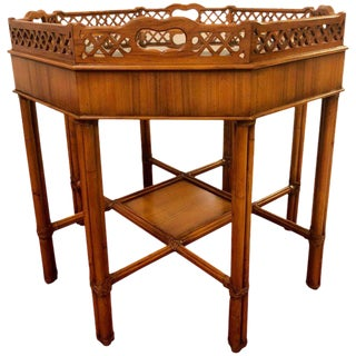 Maitland Smith Bamboo Form Octagon Shaped End / Lamp Table With Bevelled Glass