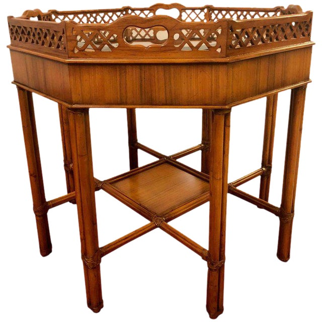 Maitland Smith Bamboo Form Octagon Shaped End / Lamp Table With Bevelled Glass For Sale