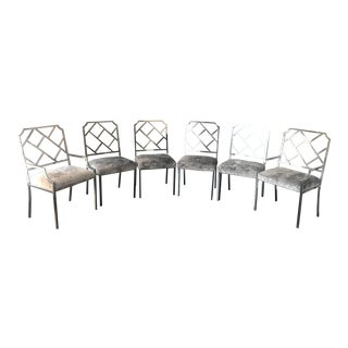 Milo Baughman Chippendale Chrome Dining Chairs - Set of 6