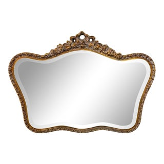 1980s French Baroque Style Giltwood Carved Mirror For Sale