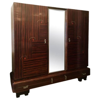 1930s Art Deco De Coene Belgian Cabinet Wardrobe For Sale