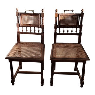 Antique Henry II Oak Cane Chairs - a Pair For Sale