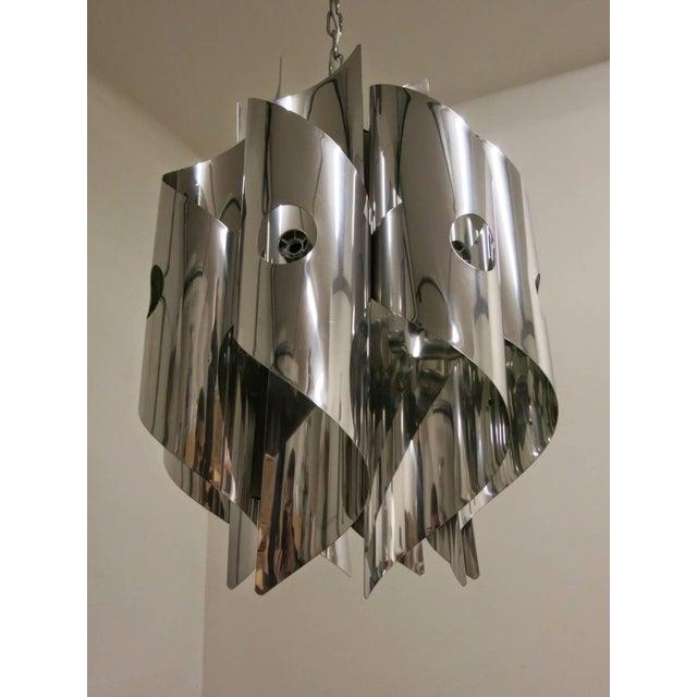 Gaetano Sciolari Eight Light Chrome Spirals Pendant by Sciolari For Sale - Image 4 of 5