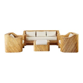 Gabriella Crespi Inspired Bamboo Rattan Sofa and Lounge Chairs For Sale