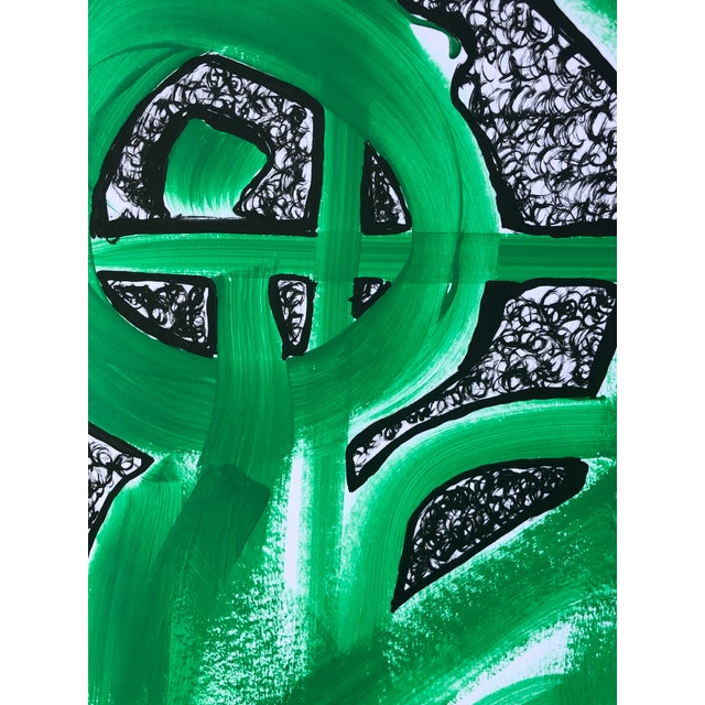 """Artist: Tony Curry Modern Painting Titled: """"Green Abstract"""" Hand Signed Original Painting on Professional Fine Art Paper..."""