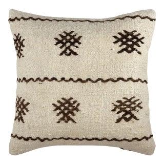 "Naturally Neutral Hemp Kilim Pillow | 16"" For Sale"