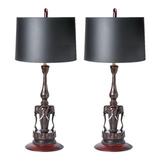Anglo Indian Hand Carved Wood Elephant Lamps, A-Pair For Sale