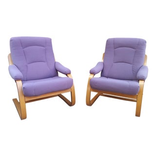 1990s Vintage Danish Modern Bent Teak Aarhus Lounge Chairs- A Pair For Sale