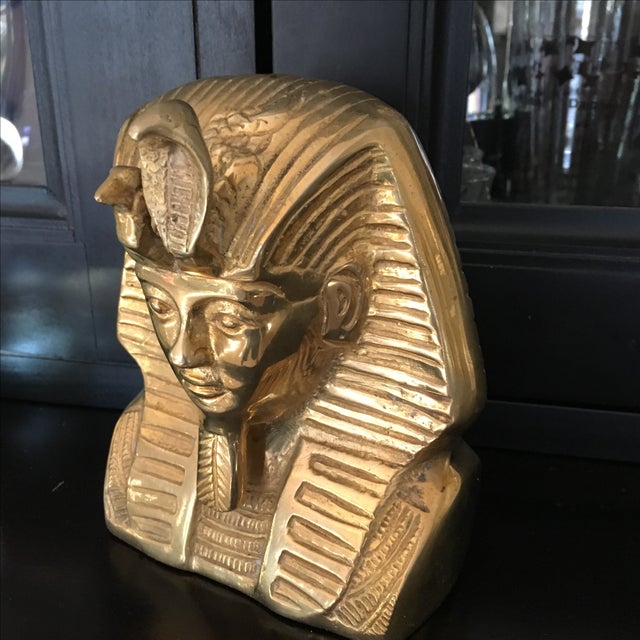 Vintage Solid Brass Egyptian Bust of King Tut For Sale - Image 4 of 8