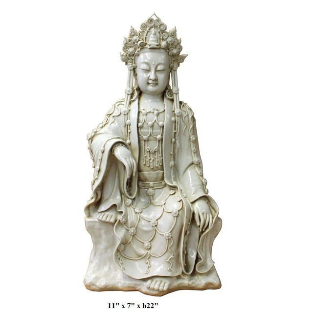 Ceramic Chinese Tong Style Porcelain Kwan Yin Tara Bodhisattva Statue For Sale - Image 7 of 7