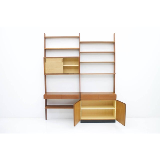 Brown Dieter Waeckerlin Shelf System Wall Unit in Teak Wood, Behr Germany, 1950s For Sale - Image 8 of 11