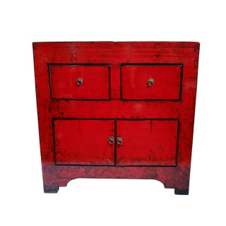 Red Lacquer Side Cabinet