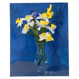 Original Vintage 80's Impressionist Painting of Daffodil Flowers in Vase For Sale