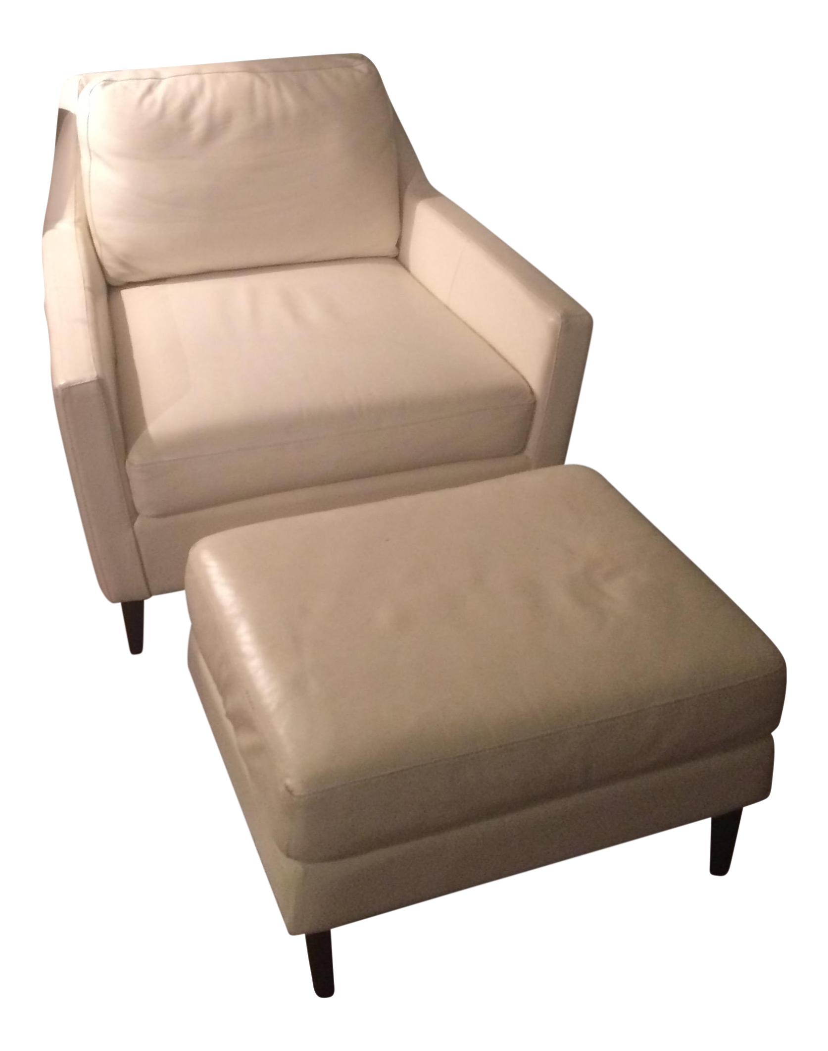 West Elm White Leather Chair And Ottoman