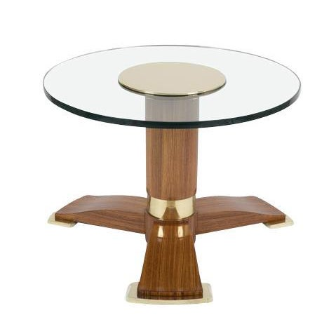 Wood Jules Leleu Mahogany, Bronze and Glass Coffee Table For Sale - Image 7 of 13