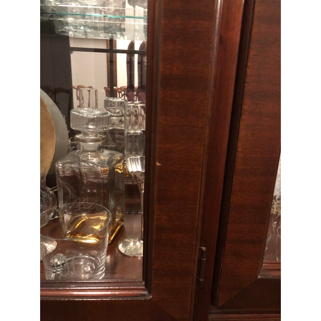Wood Ethan Allen Mahogany 18th Century Classics Collection Dining Room Breakfront China Cabinet For Sale - Image 7 of 9